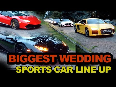 Biggest Luxury Sport Cars Line Up At Wedding Including Ferrari, Porsche,  Mercedes, BMW, Rolls Royce