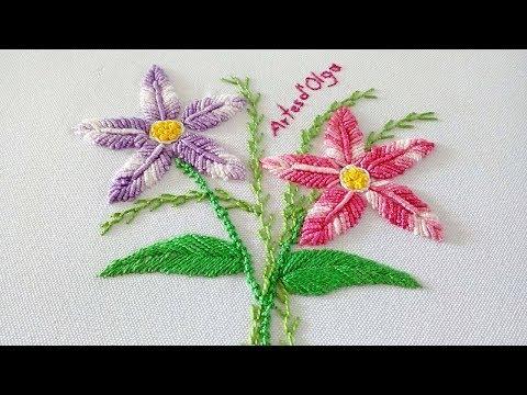 Bordado a mano paso a paso: Flores en punto rococo  ArtesdOlga