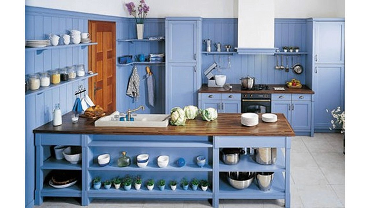 Cocina azul decorar ideas - YouTube