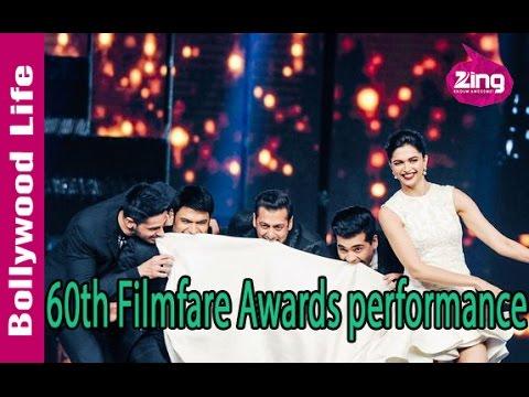 Salman Khan, Alia Bhatt, Shraddha Kapoor on Filmfare Awards stage