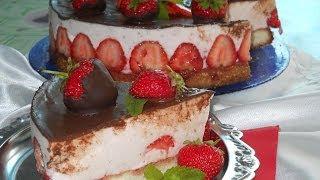 Торт с клубникой и сметанным желе. Рецепт
