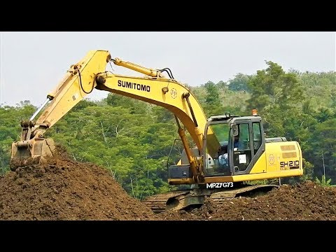 Excavator And Dozer Working On Airport Construction Sumitomo