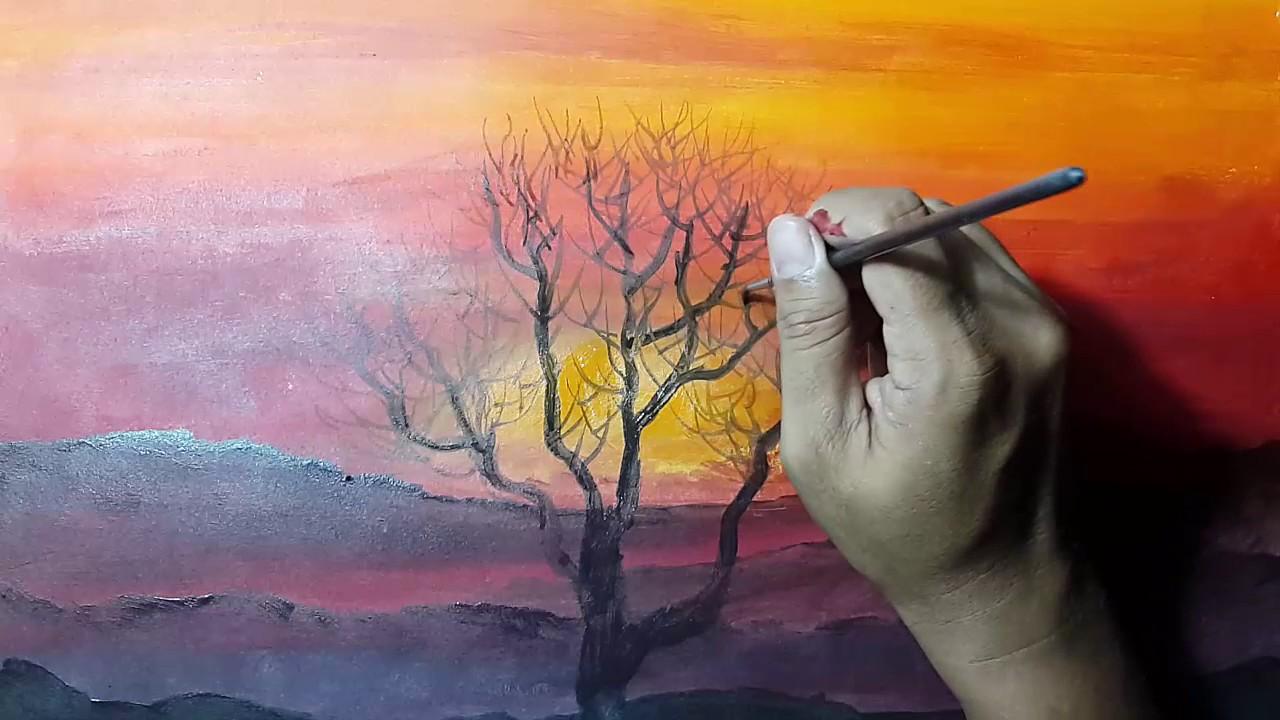 Cara melukis sunset  YouTube