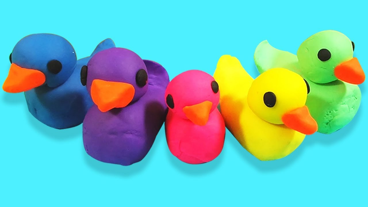 Learn Colors with Play Doh Five Little Ducks Finger Family Song ...