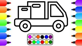 How to Draw a Delivery Truck Easy Step by Step for kids | Transport Van Coloring Pages tutorial