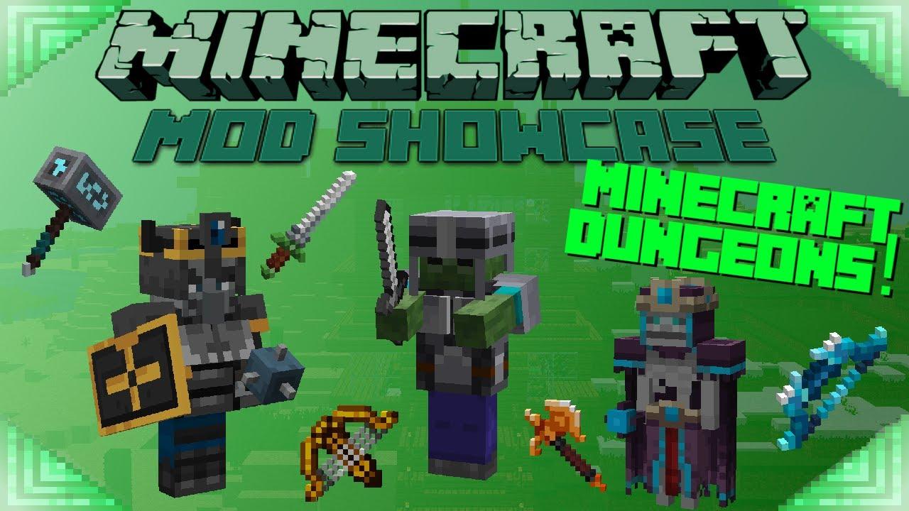 MINECRAFT DUNGEONS (Minecraft Mod Showcase) MOBS & GEAR!