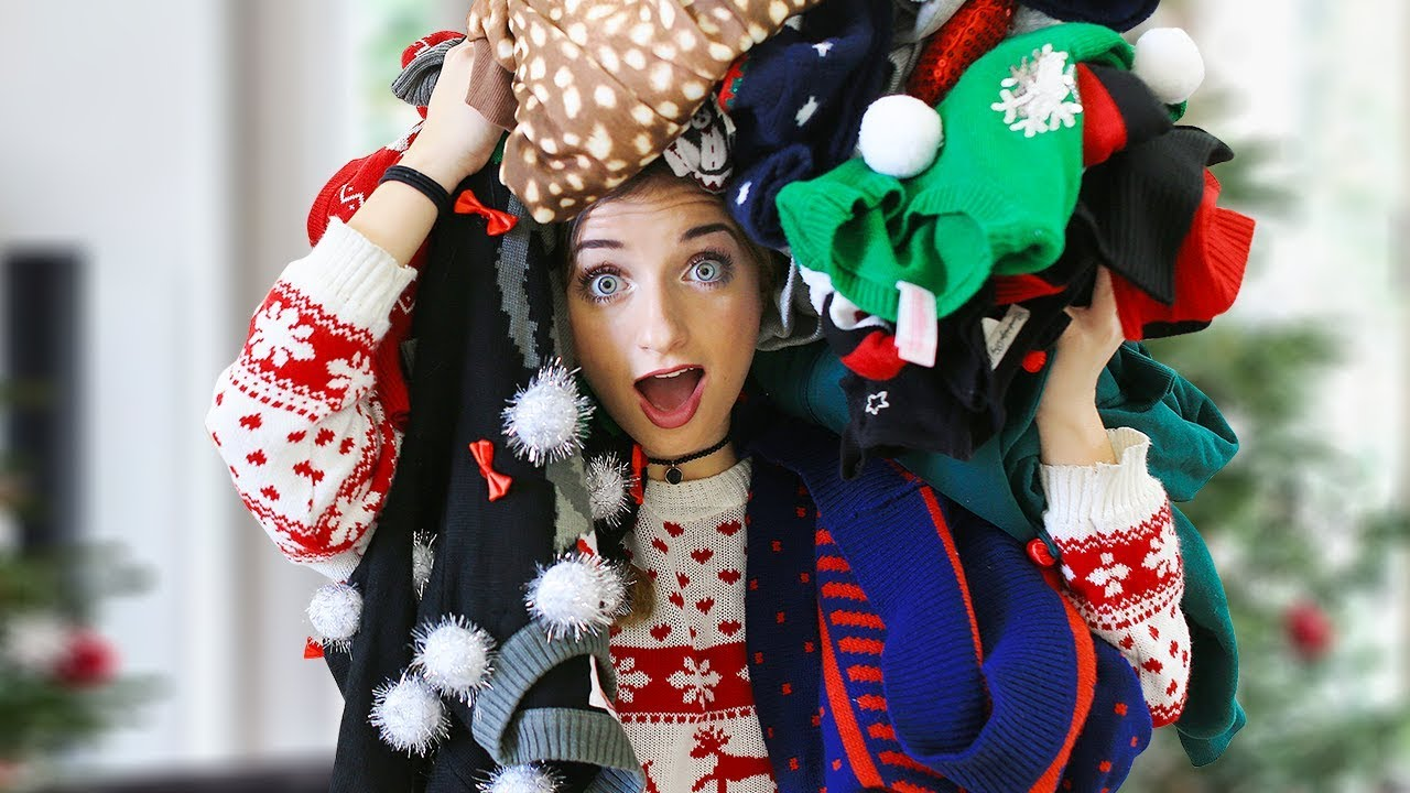 which tacky christmas sweater would you wear 12 days of vlogmas day 10
