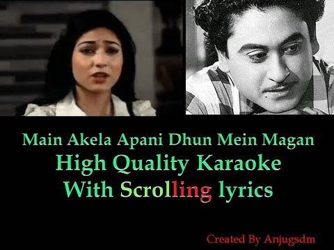 main-akela-apani-dhun-mein-magan-||-man-pasand-1980-||-karaoke-with-scrolling-lyrics-(high-quality)