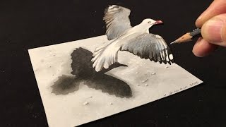 Drawing a 3D Flying Bird - How to Draw Bird - Trick Art on Paper
