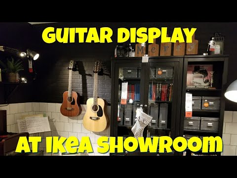 Guitars Display at IKEA Showroom (Ibanez and Denver acoustic guitar)