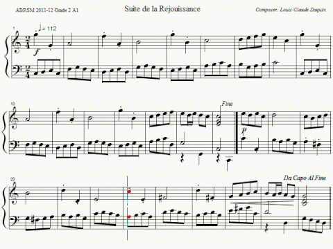 ABRSM Piano 2011-2012 Grade 2 A:1 A1 Daquin Continuation Of Rejoicing Sheet Music