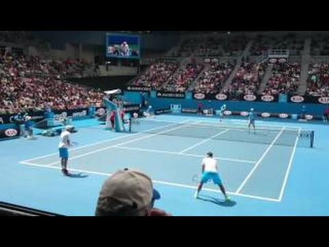 Bryan Brothers 2015 Australian Open Court Level View [HD]