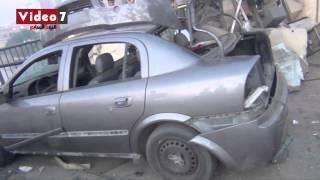 بالفيديو..آثار انفجار قنبلة بكمين أعلى كوبري مسطرد
