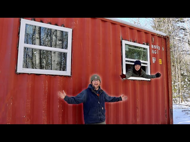 Installing Windows in Our OFF-GRID Shipping Container Cabin in the Woods