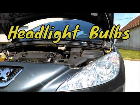 Peugeot 308 How To Replace Headlight Bulbs On The Left Side!