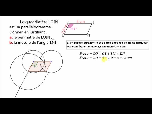 Parallélogramme et utilisation des propriétés - Exercice Maths 5ème