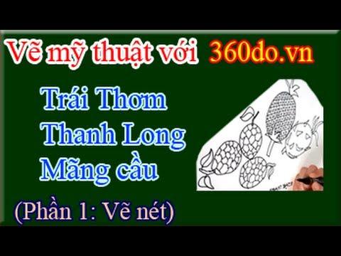 Học vẽ với 360do.vn. Bài 12_1 : Vẽ trái cây (Vẽ nét trái Thơm, trái Mãng  Cầu, trái Thanh Long), ) | VideoMoviles.com