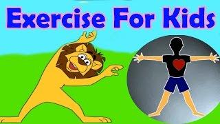 Übungen für verschiedene Teile des Körpers, Springen, Stretching, Aerobic, Lustiges Spiel für Kinder