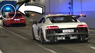 TUNED Cars Accelerating & Doing Burnouts in a Tunnel! - COPS Show Up! (Hilarious Reactions)