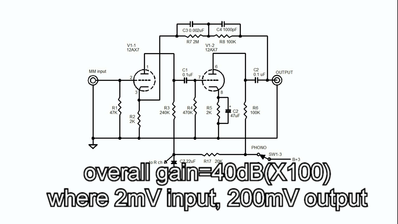 medium resolution of audio lecture 26 12ax7 mm phono eq circuit moving magnet riaa phono preamp schematic 12ax7