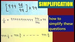 MATHS    SIMPLIFICATION QUESTIONS    FOR SSC CGL CPO CHSL MTS AND OTHER EXAMS.