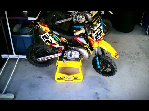 kid dirt bike riders on custom ktm 50cc motocross bikes. Black Bedroom Furniture Sets. Home Design Ideas