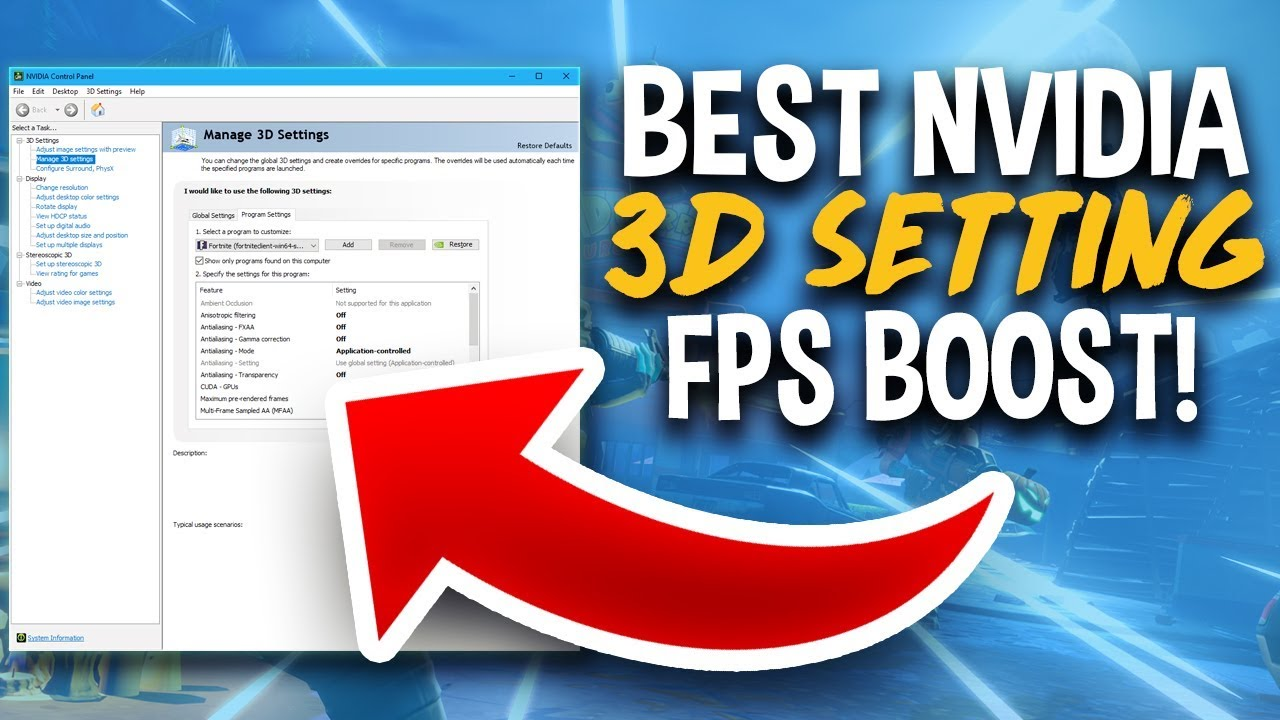 Fortnite - Best NVIDIA 3D Settings for Performance (FPS Boost)
