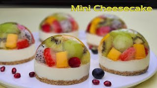 No-Bake / No-Egg / Cup Measurement / Easy Fruits Mini Jelly Cheesecake Recipe / ASMR
