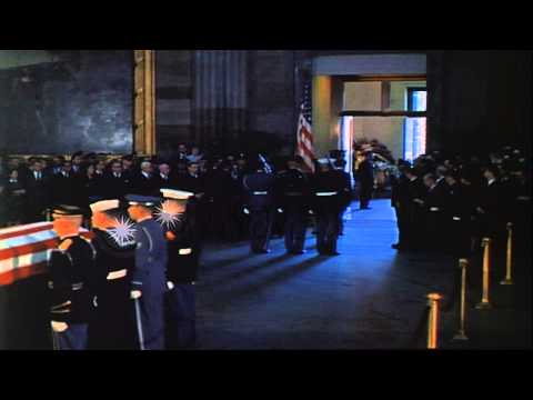Coffin bearing the body of John Kennedy is carried down the Capitol Steps for cor...HD Stock Footage