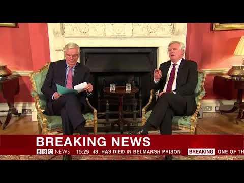 David Davis and Michel Barnier in Downing Street