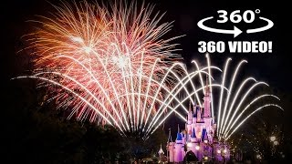 Wishes Fireworks Final Show! Grand Finale! VR 360 Walt Disney World Magic Kingdom!