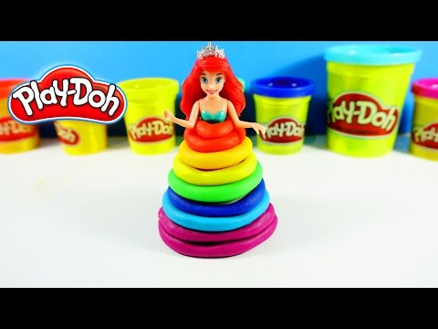 Play-Doh Princess Rainbow Dress Maker Disney Arial Princess Magiclip l Peppa Kids song