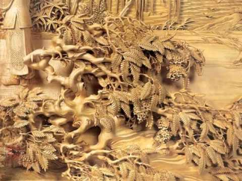 chinese wood carving paintings youtube