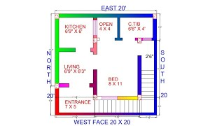 20 × 20 west face house plan map