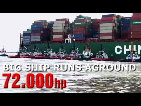 16 TUGS REFLOATING the 366m CSCL Jupiter after grounding 14K
