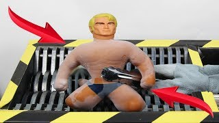 experiment Shredding Stretch Armstrong In Liquid Nitrogen And Toys   The Crusher