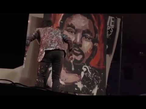 Speed Painting 'Huey Morgan' Live In Front of 10,000 people at The Looe Festival, Cornwall.