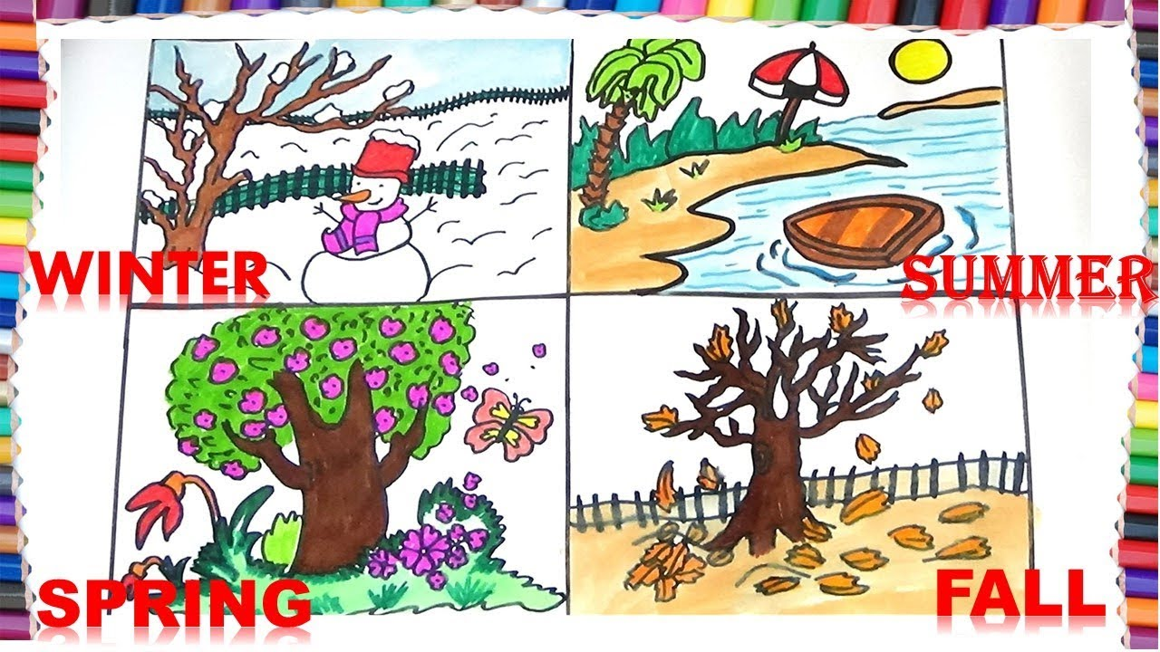 How to draw four seasons for kids winterfallsummer and spring also rh youtube