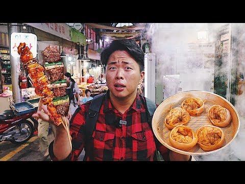 Уличная еда на корейском рынке! Пельмени с кимчи, Шашлык. Рынок Тонгин