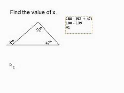 Find a missing angle outside of a triangle youtube - How to work out an exterior angle ...