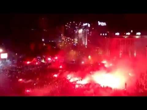 Benfica fans light up Lisbon after winning the title