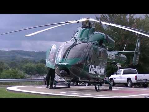MD900. MD 900 Explorer Helicopter full sound start up and take off.  Allegheny Life Flight N905LF.