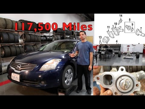 Nissan Altima Thermostat / Water Valve Replacement - YouTube