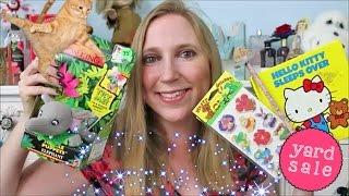 Yard Sale HAUL Vintage Toys! Sanrio, Hello Kitty, Puffy Stickers, Bath & Body Works
