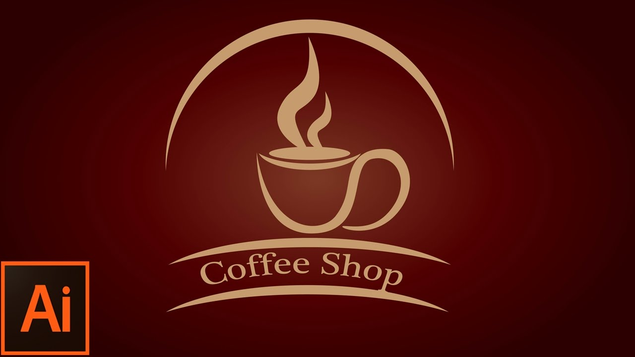 Vintage Coffee Cup logo - Adobe illustrator tutorial ...