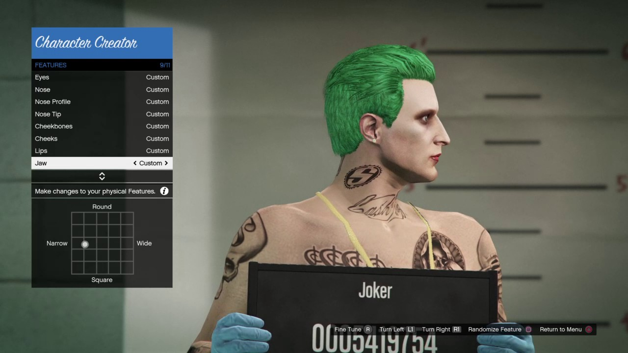 GTA 5 online - tutorial on how to make Jared Leto's Joker from Suicide Squad