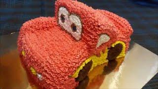 Торт машинка из крема Маквин своими руками Украшение торта кремом Cake car Cake decoration