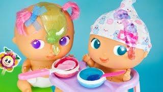 I BEBÈ BELLIES PRENDONO LA LORO PRIMA PAPPA! PEPPA PIG e Fata di Fragola fanno dolcetti di Slime!