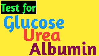 Test for Glucose, Urea and Albumin(Protein) in the Urine