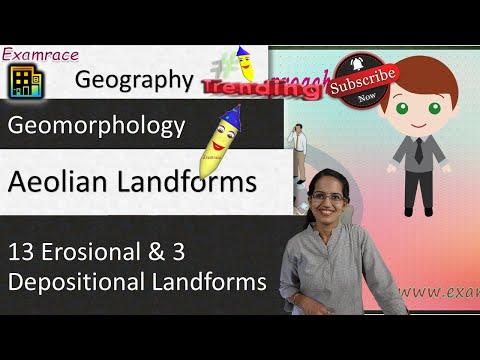 Aeolian Landforms (By Wind) - 13 Erosional & 3 Depositional Arid or Desert Landforms